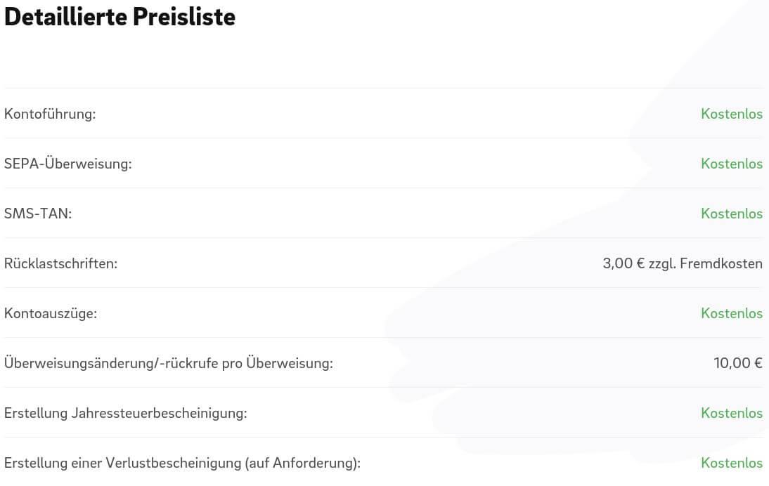 Screenshot der Preisliste von Kontist