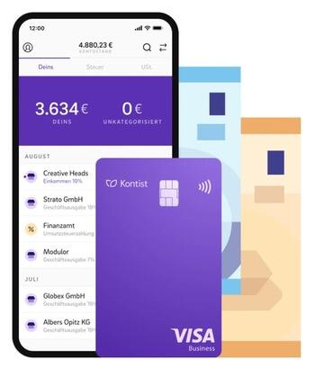 Das Bild zeigt die App von Kontist im Einsatz sowie die Kreditkarte von Visa in lila