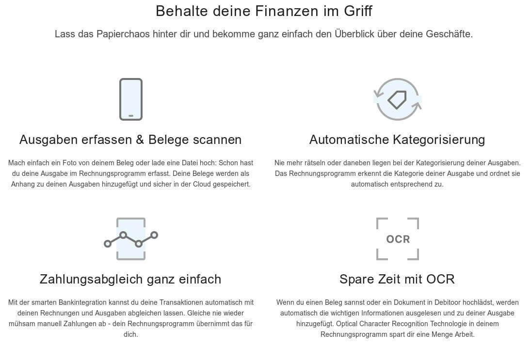 Screenshot der Übersicht der Funktionen bei Debitoor
