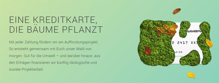Screenshot der Impact Card von Tomorrow ist eine Kreditkarte, durch deren Nutzung Bäume gepflanzt werden.