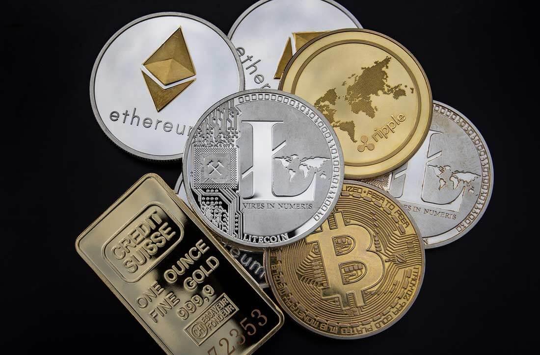 Münzen von Kryptowährungen