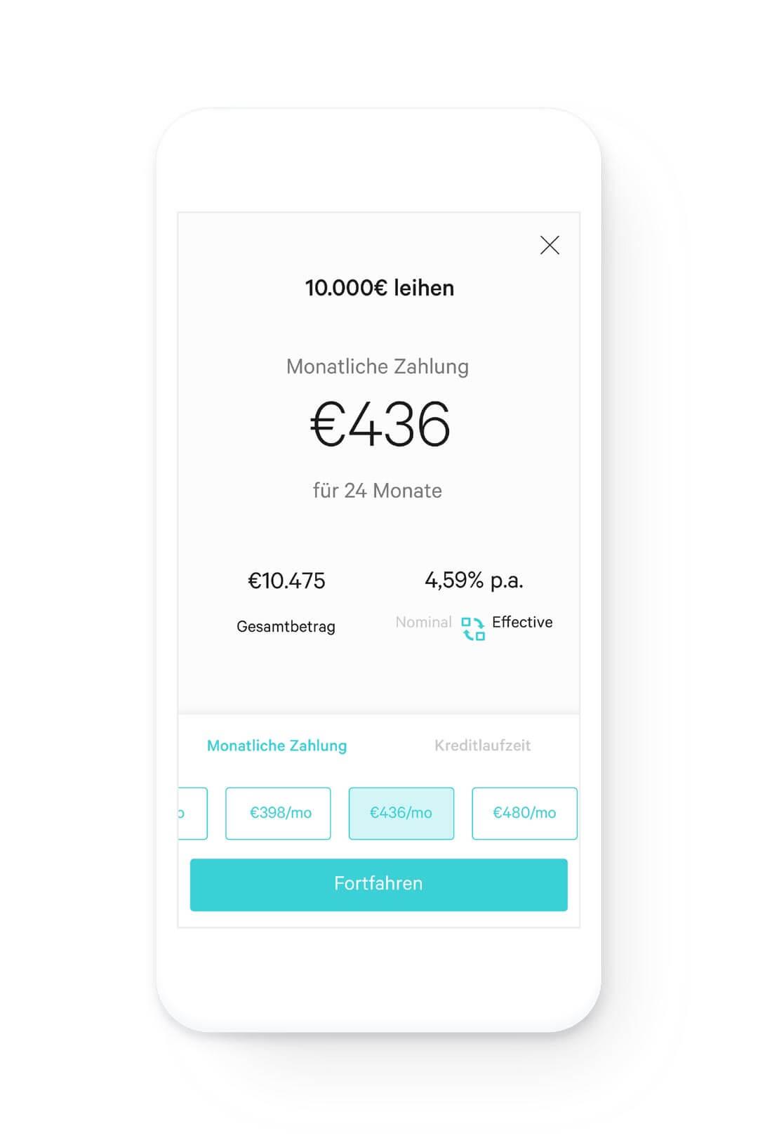 Handy-Display mit Kreditinformationen: Höhe, Zinssatz, verbleibende Raten