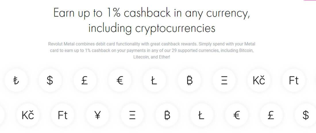 Währungssymbole, darunter auch 5 für Kryptowährungen.