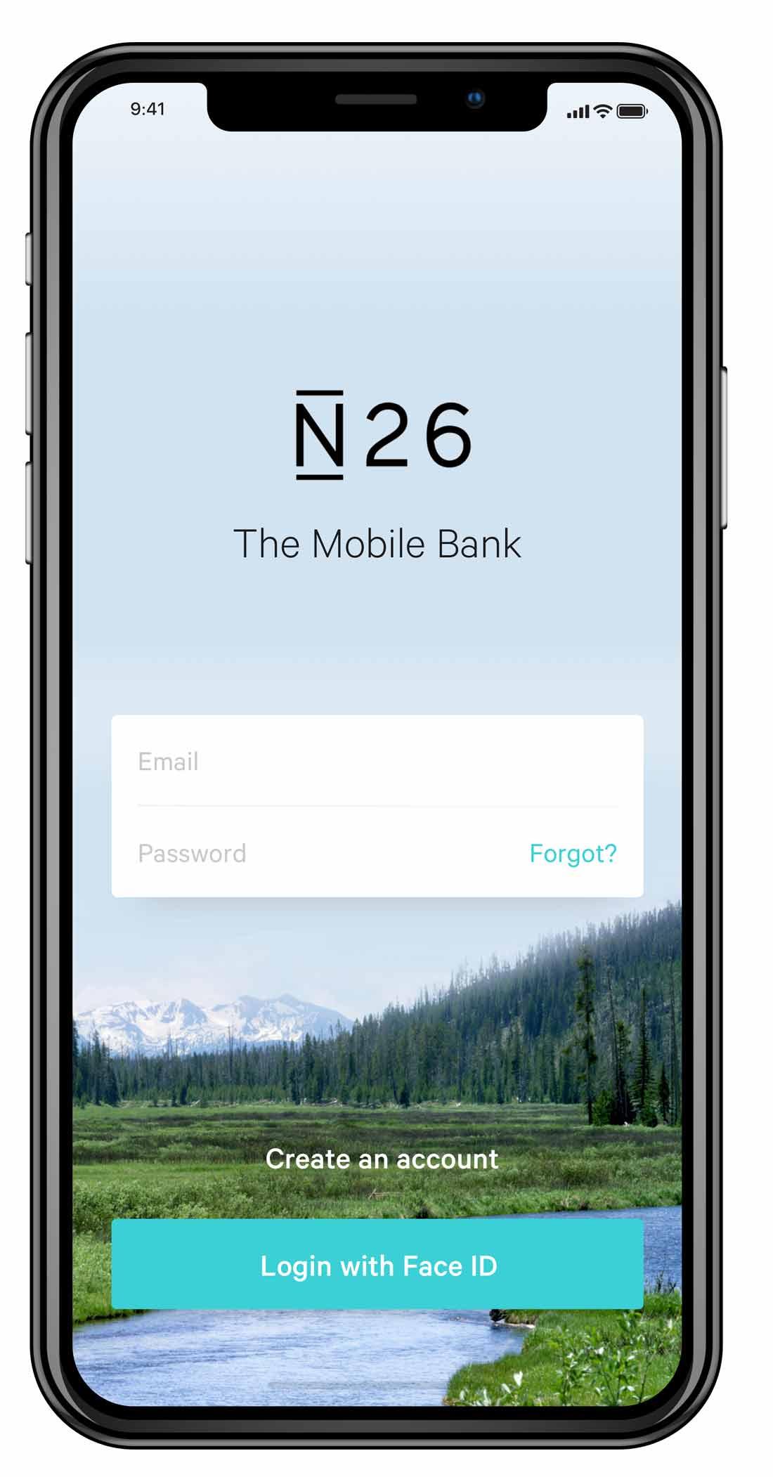 Die Banking-App N26 auf einem Smartphone mit Anweisungen in Englisch.