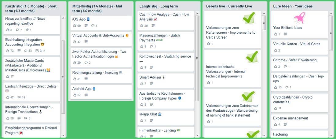 Vorschläge von Kunden in der Product-Roadmap von Penta
