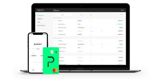 Penta mit Buchhaltungsintegration, API-Schnittstelle, virtuellen Konten, Massenzahlungen und Factoring