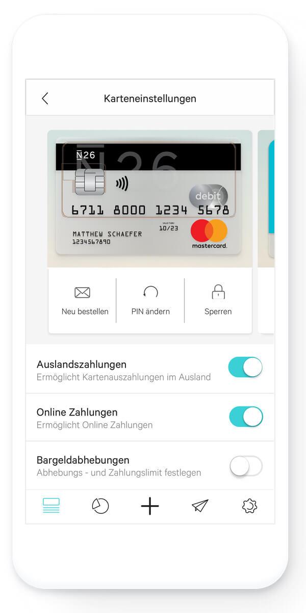 Banking-App auf einem Smartphone, aufgeblättert zum Screen zum Festlegen von Limits.