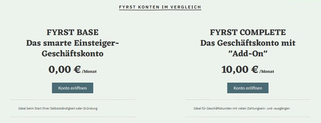 Screenshot der Webseite FYRST beim Vergleich der zwei angebotenen Kontenmodelle
