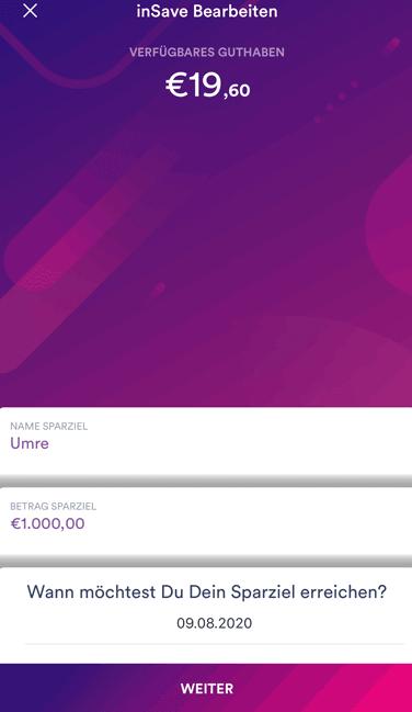 insha-App mit Sparprogramm inSave und inSight zum Einrichten und Erreichen von Sparzielen