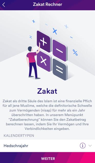 Ein Zakat-Rechner zur Unterstützung Bedürftiger als Feature der Banking-App insha