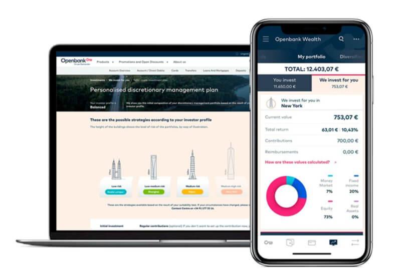 Im Bild ein Screenshot des Roboadvisors der Openbank