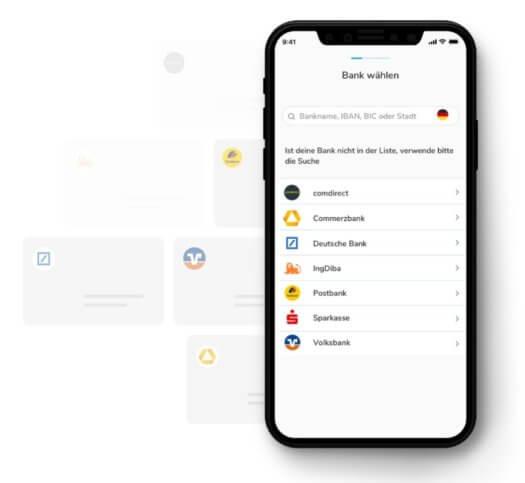 TEO Multibanking im Bild illustriert mit mehreren Bankkonten auf einen Blick in der App