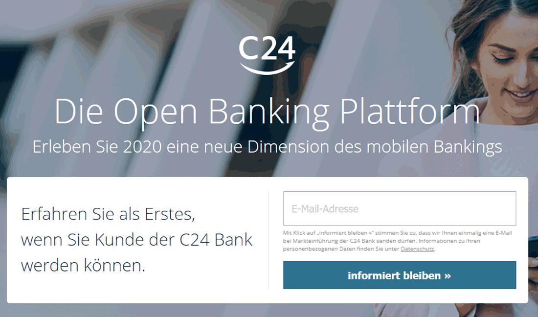Startseite der C24 Bank mit Formular zur Vormerkung als Kunde zum Start der mobilen Bank im Oktober 2020