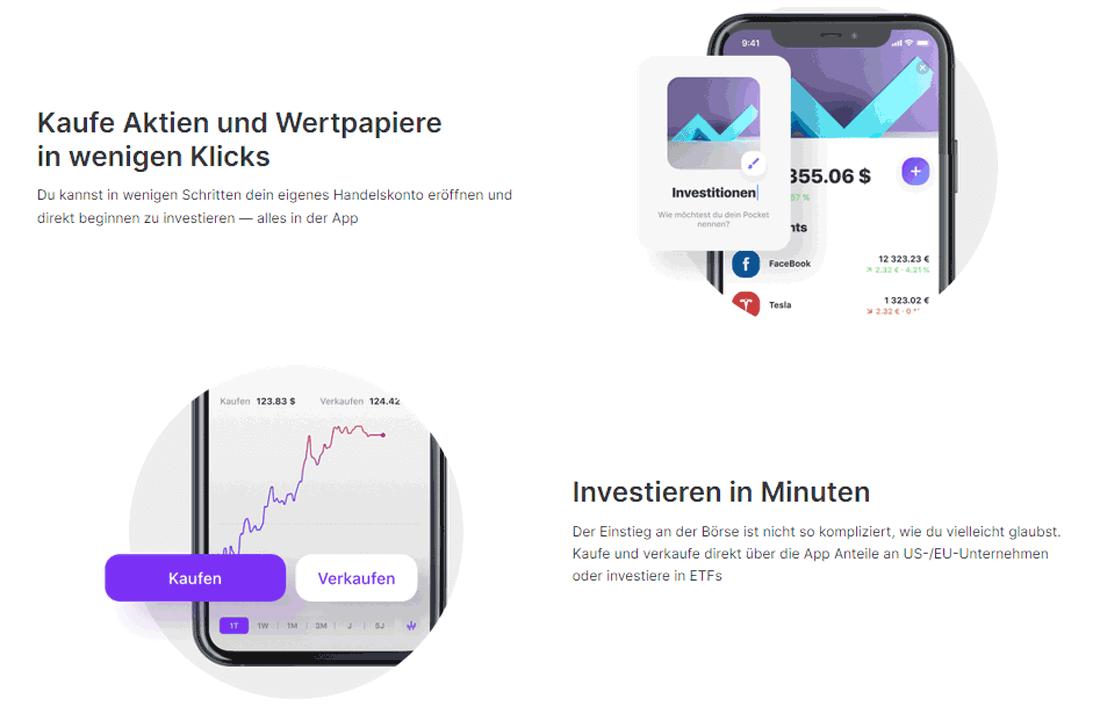 Grafik mit zwei Möglichkeiten, Geld in der Vivid Money App online anzulegen