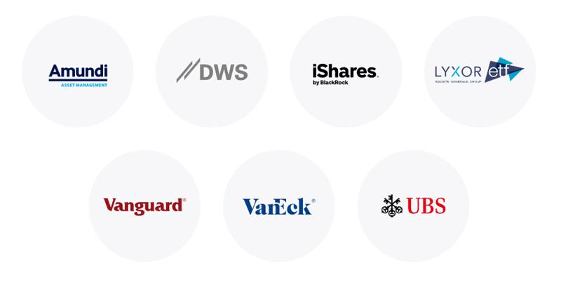 Logos der sieben ETF-Partner vom Online-Broker justTRADE