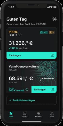 Screenshot der App von Scalable Broker mit aktuellen Aktien-Angeboten und Vermögensverwaltung